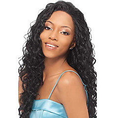 22inch indisk Remy Hair Front Lace Wig Kinky Curl Off Black (# 1b) Lang Paryk