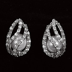 Sweet Platinum Plated With Zircon Drop Shaped Women's Stud Earrings