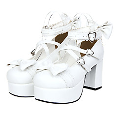 Lolita Shoes Sweet Lolita Princess Platform Shoes Bowknot 8 CM White For Women PU Leather/Polyurethane Leather