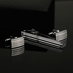 Gift Groomsman Personalized Cufflinks and Tie Clip Sets with Gift Box