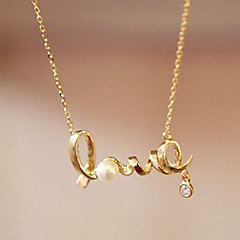 Women's European Style LOVE Exquisite Fashion Alloy Necklace With Rhinestone