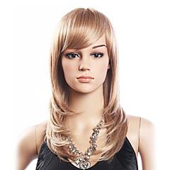 High Quality 20% Human Hair & 80% Heat-resistant Fiber Hair Capless Medium Curly Wig(Platinum Blonde)