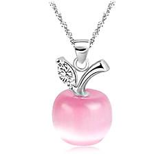 Gorgeous Platina Kvinnors Slivery hängande halsband med Opal (1 st) (vit, rosa)