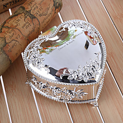 Gifts Bridesmaid Gift Personalized Embossed Floral Heart Shaped Zinc Alloy Jewelry Box