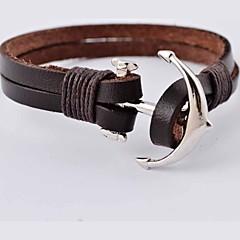 Heren Lederen armbanden Roestvast staal Leder Kruisvorm Anker Bruin Sieraden Voor Dagelijks Causaal Sport Kerstcadeaus