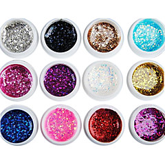 12PCS Mixs Farbe Glitter Pailletten UV Color Gel für Maniküre-Nagel (8 ml)