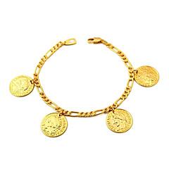 コインチャームブレスレットをいっぱいu7®フィガロチェーンゴールドは18K本物の金は18Kスタンプ2mmの21センチメートルでメッキ腕輪