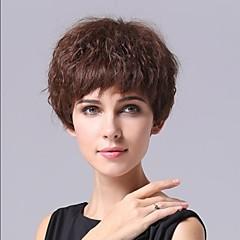 Lysebrunt Fiber Curly attraktive kvinner Kort hår parykk