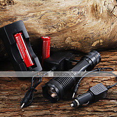2000LM CREE XM-L T6 5 Mode Zoom LED lommelykt + 2x18650 Battery + Car Charge