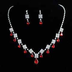 Ladies'/Women's Alloy Wedding/Party Jewelry Set With Rhinestone Red