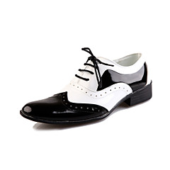 Men's Spring Summer Fall Winter Comfort Bullock shoes Leather Party & Evening Flat Heel Lace-up Black White