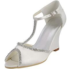 Satin Women's Wedding Wedge Heel Peep Toe Pumps Shoes (More Colors)