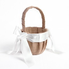 Elegant Linen with White Ribbon Bow Flower Basket Flower Girl Basket