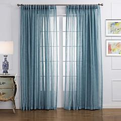 moderne zwei Platten durchgehend blau Wohnzimmer Leinen Polyester Mischung Gardinen Schattierungen