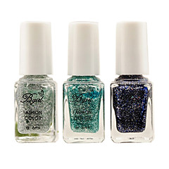 3PCS Blue Gradual Changing Nail Art Glitter Powder Nail Polish Set On Sales