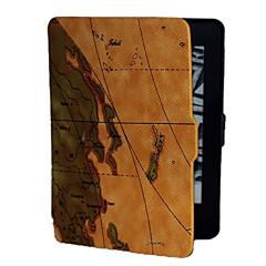 A barna háttér világtérkép mintás műbőr tokban Kindle Paperwhite