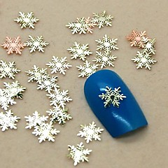 200PCS Snowflake Shape Slice Metal Nail Art Decoration