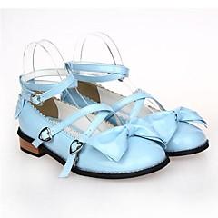 נעליים לוליטה מתוקה נסיכות עקב שטוח נעליים סרט פרפר 2.5 CM סגול / לבן / Black / ורוד / כחול ל נשים עור פוליאוריתן