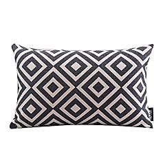 sort og hvid plaid bomuld / hør dekorative pudebetræk