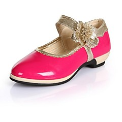 Girls' Flats Mary Jane Leatherette Spring Summer Fall Casual Dress Mary Jane Satin Flower Low Heel Peach Black White Pink Under 1in
