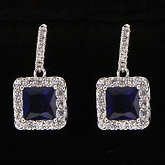 Silver Platinum Plating Cube BlueGem Earrings
