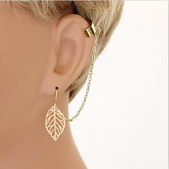 Women's European And American Simple Leaves Chain Earrings