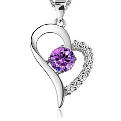 Ladies' Silver Purple Crystal Pendant Necklace