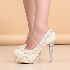 Women's Wedding Shoes Heels/Platform/Round Toe Heels Wedding White/Beige