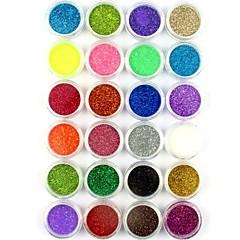 24kpl pieni kynsikoristeet glitter jauhetta kynsikoristeet folio jauhe arylic jauhetta kynsien koristeet