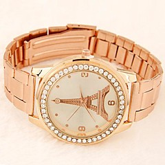 Women's European Style Round Diamante Case Eiffel Tower Dial Metal Band Quartz Fashion Watch