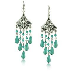 Elegant Antique Silver Earrings Vintage Fan Shape Long Water-drop Turquoise Earring