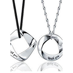 Couples' Silver Square and Round Pendant  (2pcs)