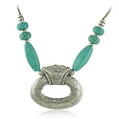 Antique Silver Metal Carving Flower Short Turquoise Pendant Necklace