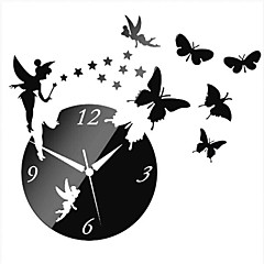 3D DIY Modern Style Angle Butterfly Acrylic Mirror Wall Clock
