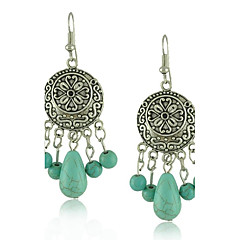 Fashion Bohemian Style Turquoise Beads Metal Carving Flower Round Vintage Silver Earring
