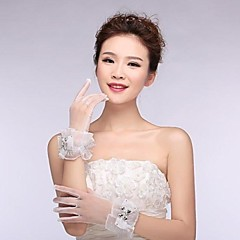 Ivory Tulle  Fingertips Wrist Length Wedding Gloves with Ruffles with Crystal ASG21
