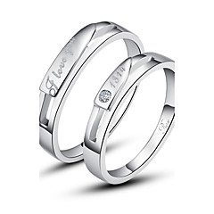 Personalized Couples' Silver Ring Diamond Silver