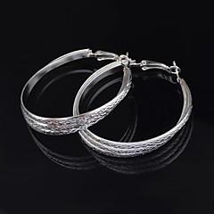 Fashion Silver Circle Shape Charm Earrings