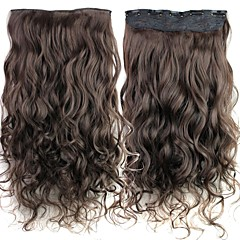 24 Inch 120g Long Darkest Brown Heat Resistant Synthetic Fiber Curly Clip In Hair Extensions with 5 Clips