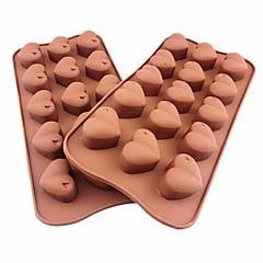 15 hullers hjerte form kage is gelé chokolade forme, silicone 21 × 10,5 × 2,5 cm (8,3 × 4,1 × 1.0inch)
