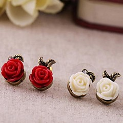 Vintage Small Plastic Roses Alloy  Earrings