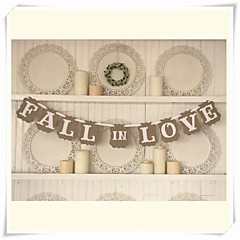 """Wedding Décor Romantic Vintage """" FALL IN LOVE""""  Engagement Banner Photo Booth Props"""
