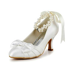 Women's Shoes Round Toe Spool Heel Pumps with Pearl Wedding Shoes More Colors available