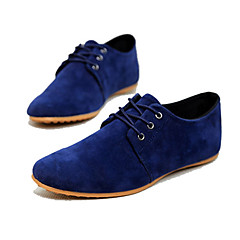 Men's Spring Summer Fall Faux Suede Casual Flat Heel Lace-up Black Brown Navy