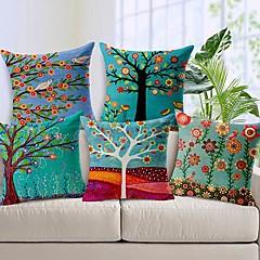 sæt med 5 smukke blomst træ bomuld / linned dekorative pudebetræk