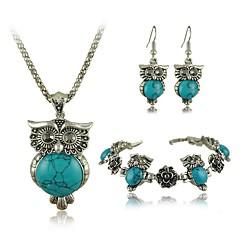 Tibetan Vintage Silver Retro Turquoise Stone Pendant Necklace drop earrings bracelet Set(More Colors)