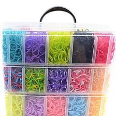 12000pcs colorés bricolage style métier de couleur arc-en-bracelets de la bande de silicone 12000pcsbands, 12s-clips, une métiers, 1hook + 1box
