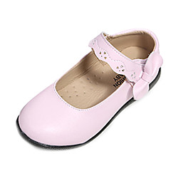Girl's Fall Round Toe / Comfort Leather Casual Flat Heel Bowknot / Magic Tape Pink / White