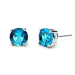 S&V Brass With Cubic Zirconia Stud Earrings(More Colors)