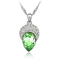 Sleek  Rhinestone and Crystal Teardrop Pendent Alloy Women's Necklace (More Color)